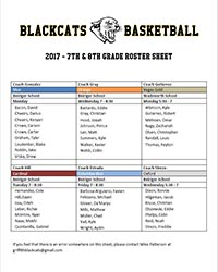 Griffith BlackCats 7th and 8th grade roster sheet