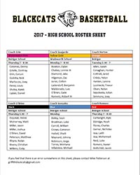 Griffith BlackCats High School roster sheet